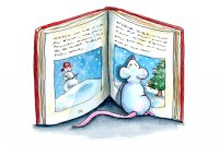 Mouse Reading Chistmas Book Snow Watercolor Illustration Painting