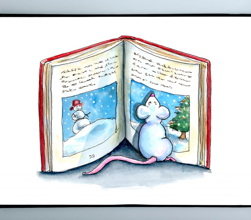 Mouse Reading Chistmas Book Snow Watercolor Illustration Painting Sketchbook Detail