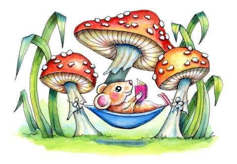 Mushroom Fly Agaric Storybook Mouse Hammock Watercolor Illustration Painting