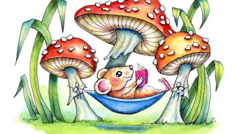 Mushroom Fly Agaric Storybook Mouse Hammock Watercolor Illustration Painting