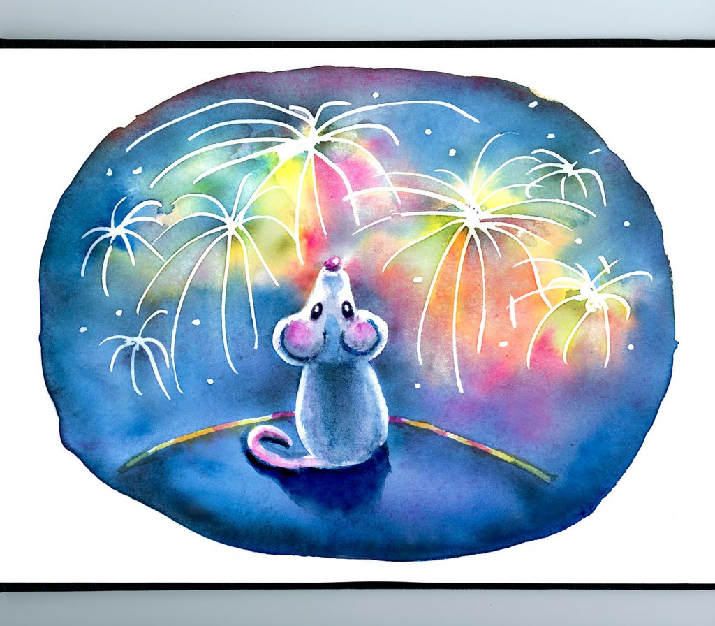 Year Of The Mouse Watching Fireworks Night Watercolor Illustration Painting Sketchbook Detail