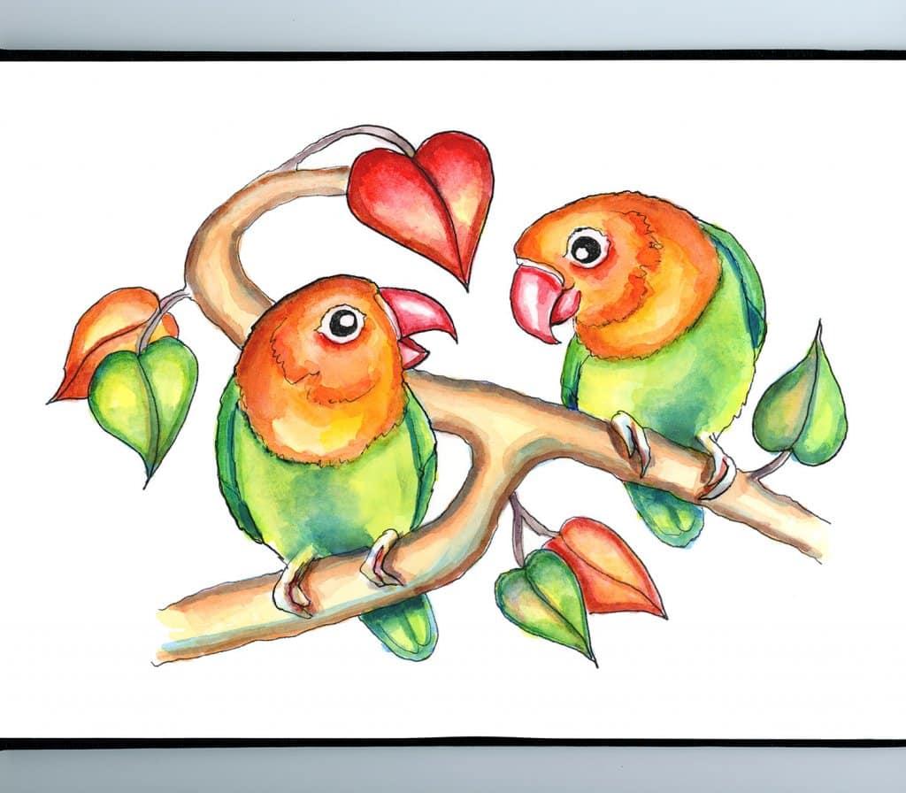 Lovebirds Love Couple Watercolor Illustration Painting Sketchbook Detail