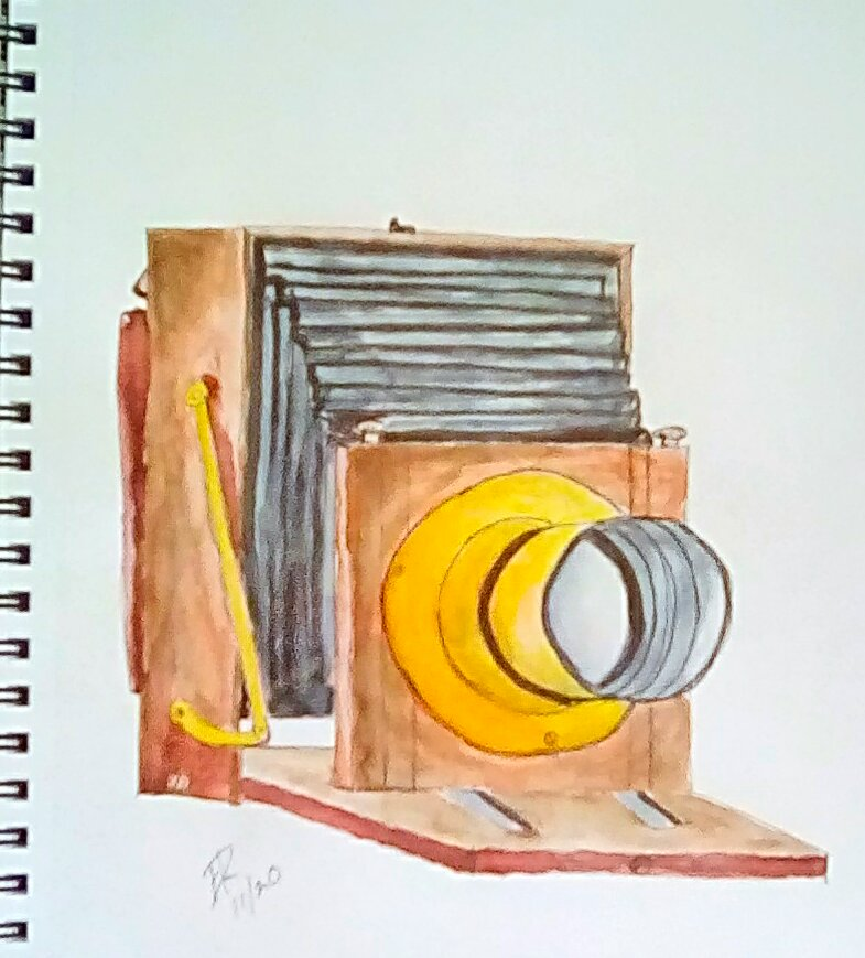 """Today's watercolor challenge """"Camera"""" . This is what you use when you want to make"""