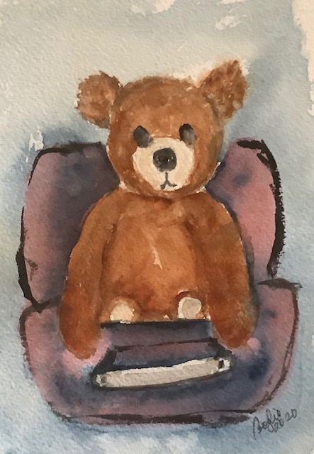 #doodlewashnovember2020: teddy bear: this Steiff bear came with his own travel suitcase. IMG_2547