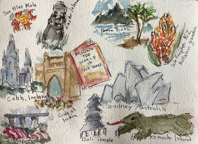 #doodlewashnovember2020 day 27: book. Some of the things we saw on our World Cruise that are picture
