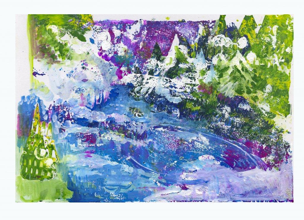 Snow Scene Monoprint Gouache by Sandra Strait