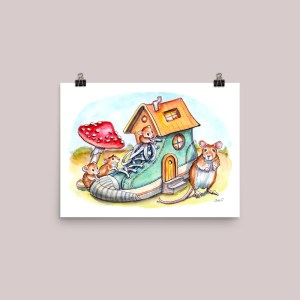 Mice-Mouse-Who-Lived-In-A-Shoe-House-Watercolor-Illustration-Painting-Signed Watercolor Print