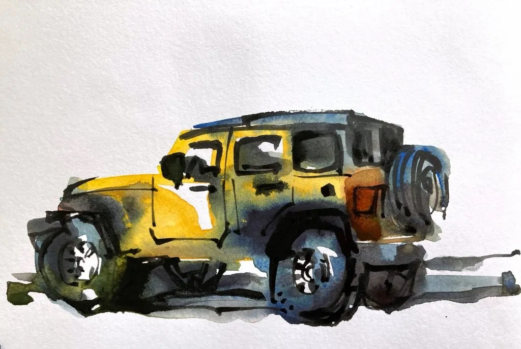 Urban Sketching Watercolor Tutorial Suhita Shirodkar jeep3