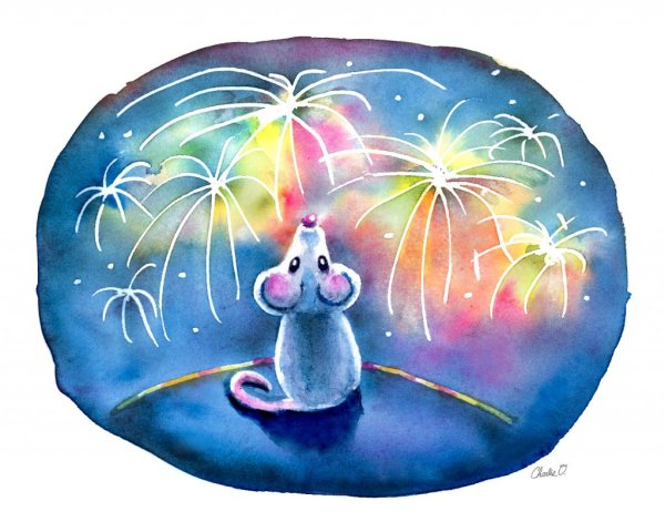 Year-Of-The-Mouse-Watching-Fireworks-Night-Watercolor-Print-Signed_printfile_default Watercolor Print Detail