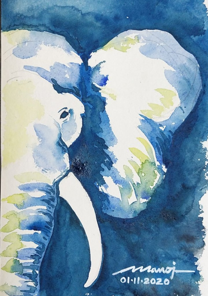 Dt: 01.11.2020 Sub: ELEPHANT Watercolor painting on handmade inbound5058624749282406366