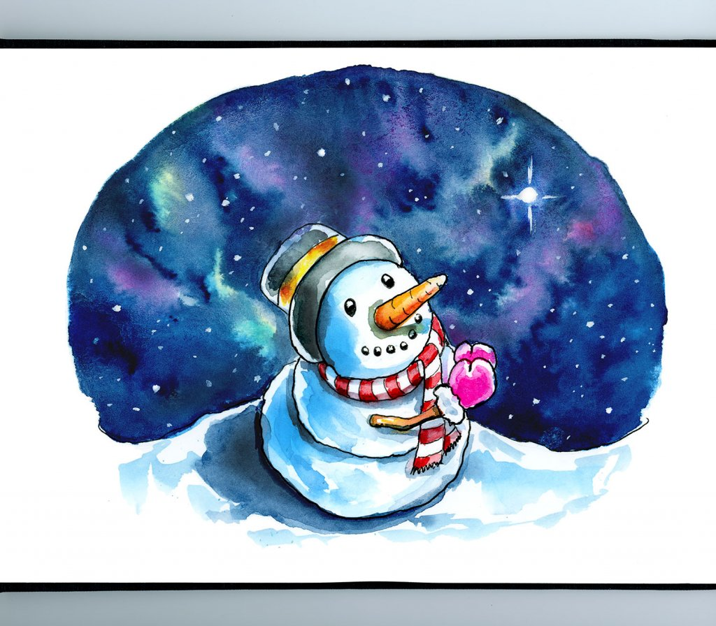 Evening Star Snowman Wishing Praying Christmas Watercolor Illustration Painting Sketchbook Detail