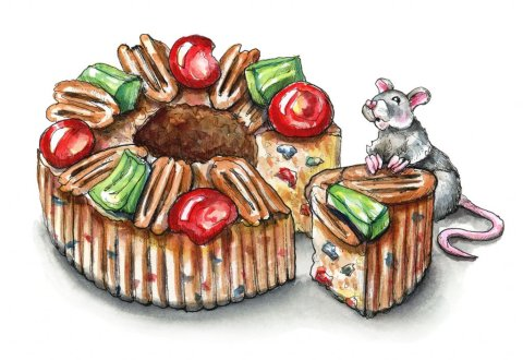 Fruitcake Slice Christmas Mouse Watercolor Illustration Painting