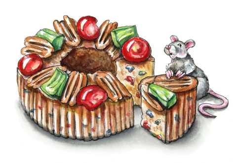 Fruitcake Slice Christmas Mouse Watercolor Illustration Painting