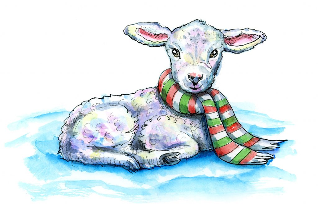Lamb Baby Sheep Scarf Christmas Watercolor Illustration Painting