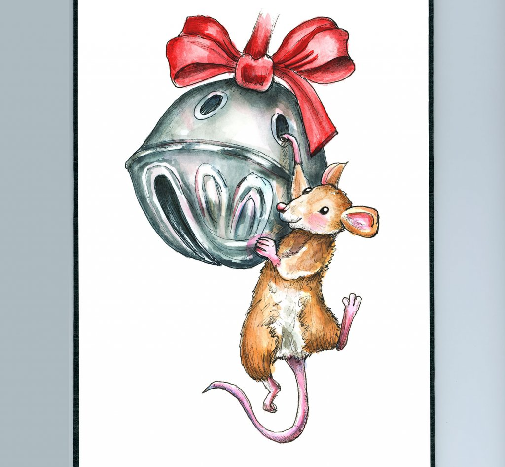 Sleigh Bell Jingle Bell Mouse Hanging Ornament Christmas Watercolor Illustration Painting Sketchbook Detail
