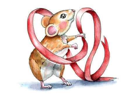 Mouse Holding Red Ribbon Christmas Watercolor Illustration Painting