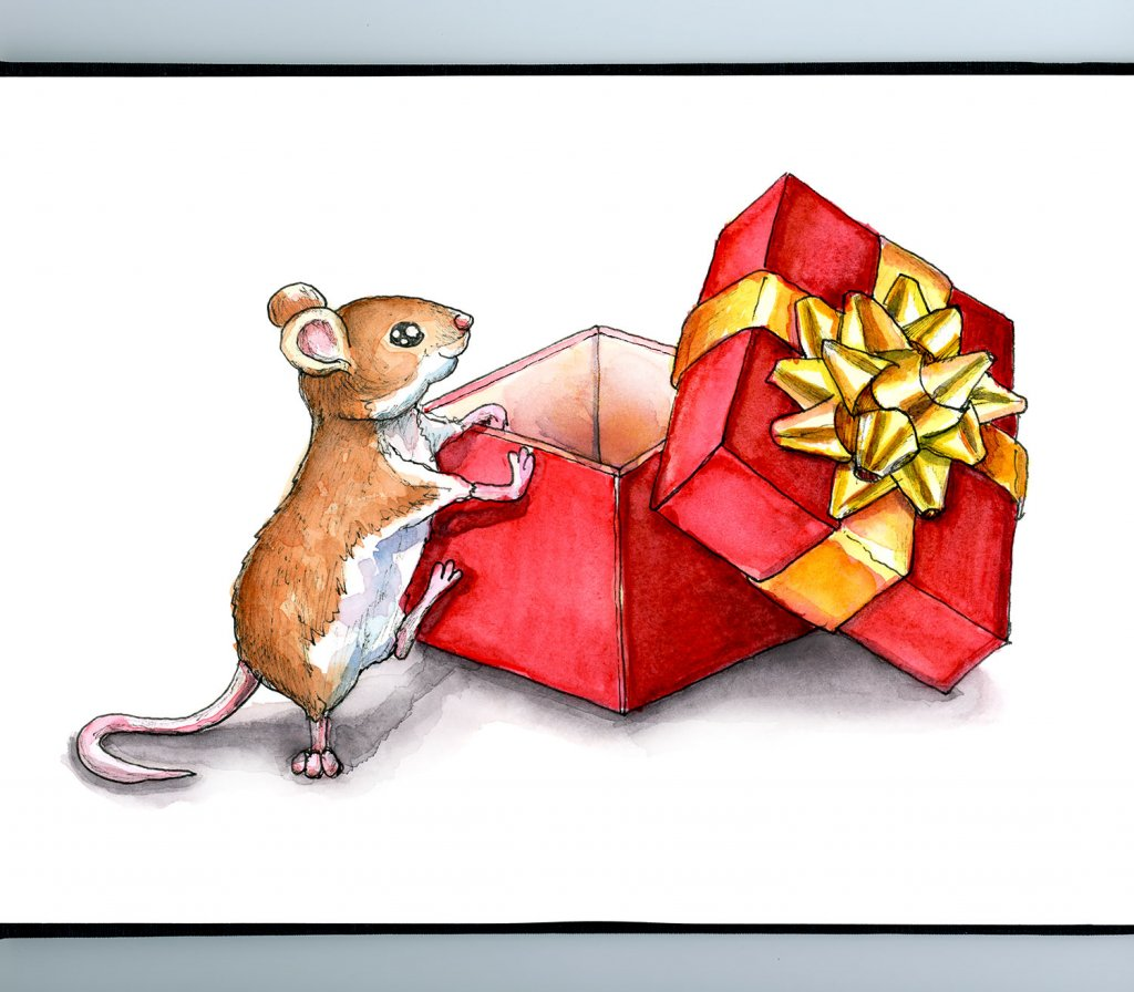 Christmas Mouse Last Gift Present Watercolor Illustration Painting Sketchbook Detail