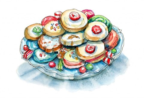 Christmas Cookies Holiday Plate Variety Watercolor Illustration Painting