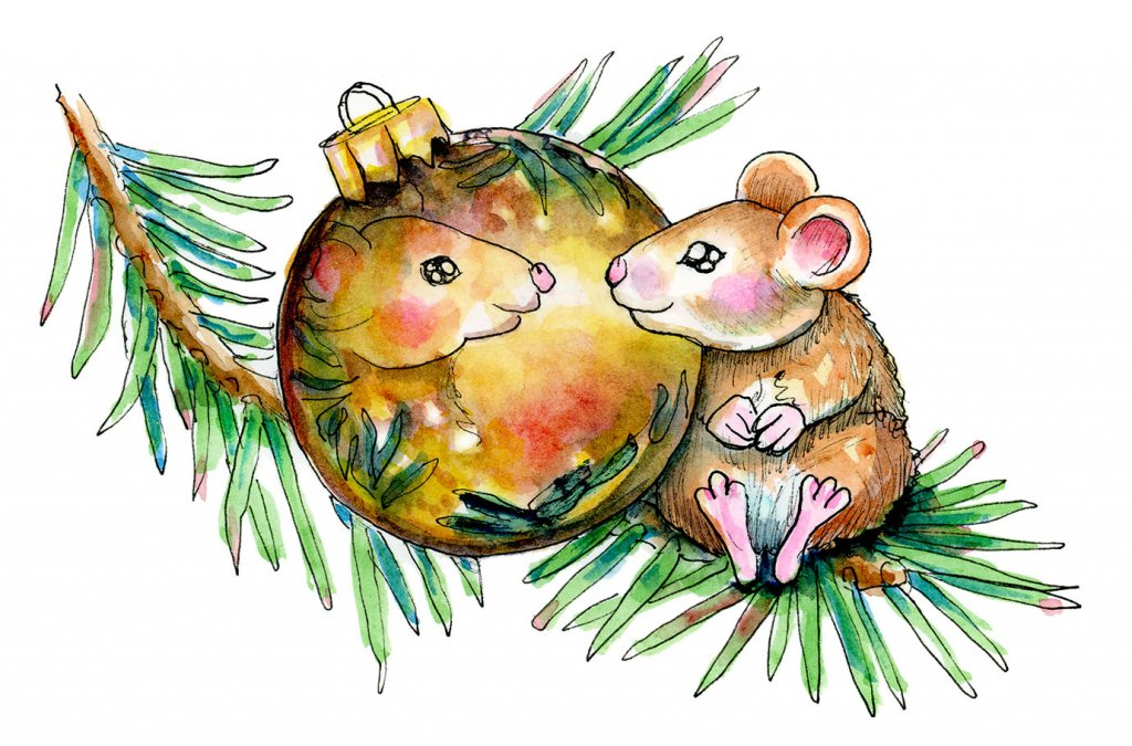 Mouse Looking In Ornament Reflection Christmas Watercolor Illustration Painting
