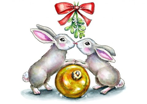 Two Bunnies Rabbits Kissing Under Mistletoe Christmas Watercolor Illustration Painting