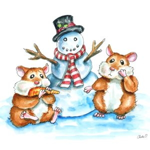 Hamsters Building A Snowman Watercolor Print Detail