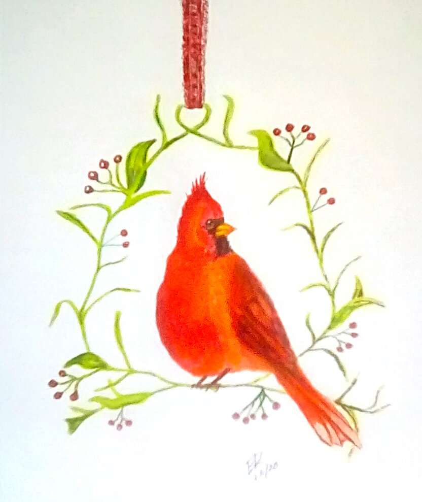 "Today's watercolor challenge ""cardinal"" plus wreath and ornament. IMG_20201208_092"