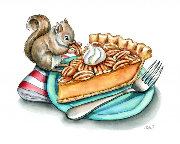 Pecan Pie Baby Squirrel Watercolor Illustration Painting Print detail copy