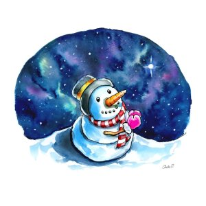 Snowman Night Sky Wishing Praying Watercolor Print Detail