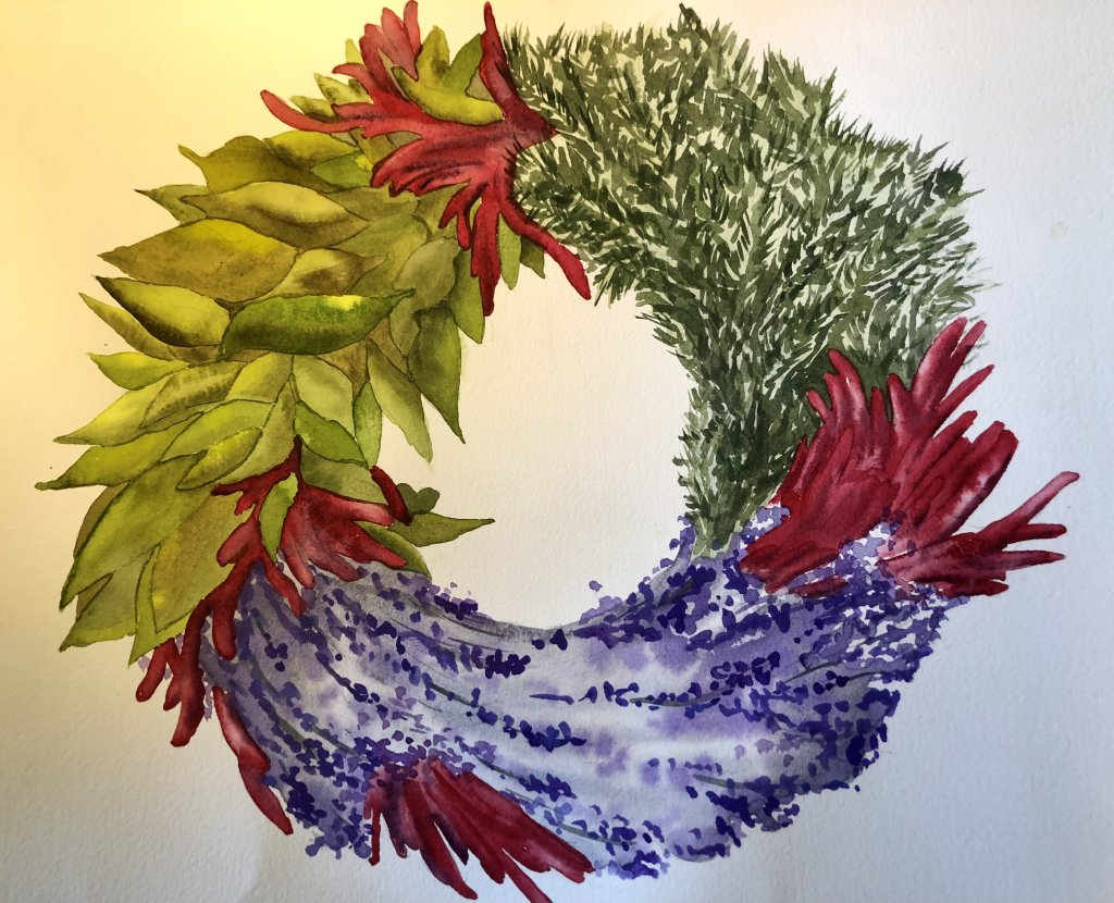 Rosemary, bay leaf, lavender, and chili pepper wreath. Wreath 2020