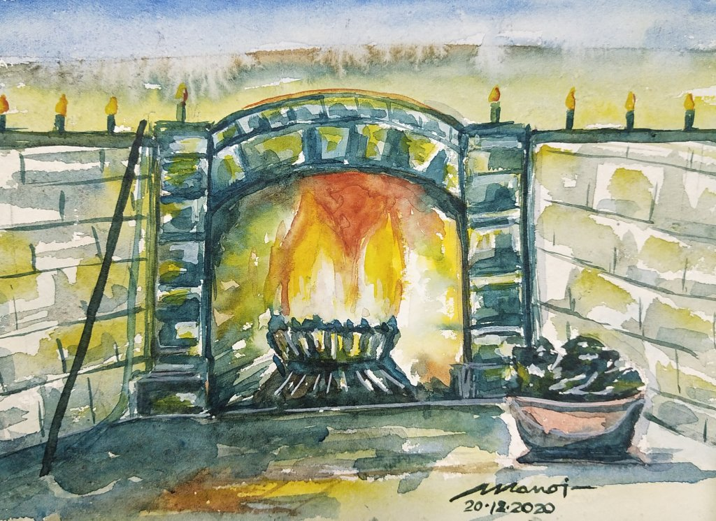 Dt: 20.12.2020 Promp: HEARTH Watercolor painting on handmade paper inbound5149817076810515529