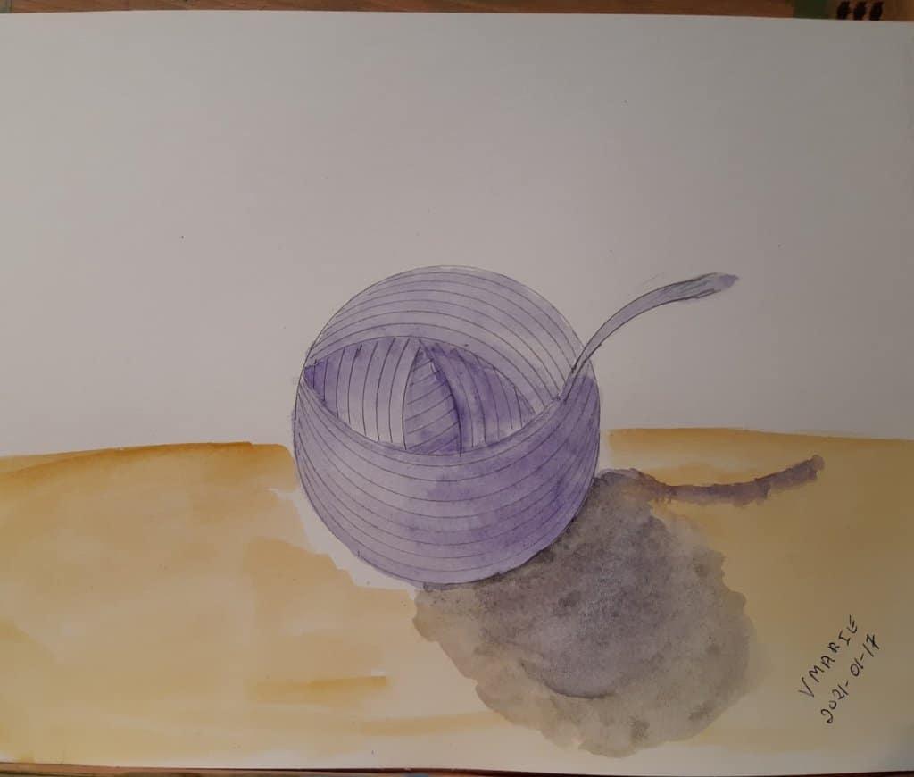 2021-01-17 Yarn: #doodlewashJanuary2021 #WorldWatercolorGroup 20210117_Yarn