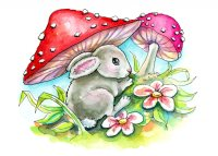 Baby Bunny Mushrooms Easter Spring Watercolor Childrens Illustration Painting