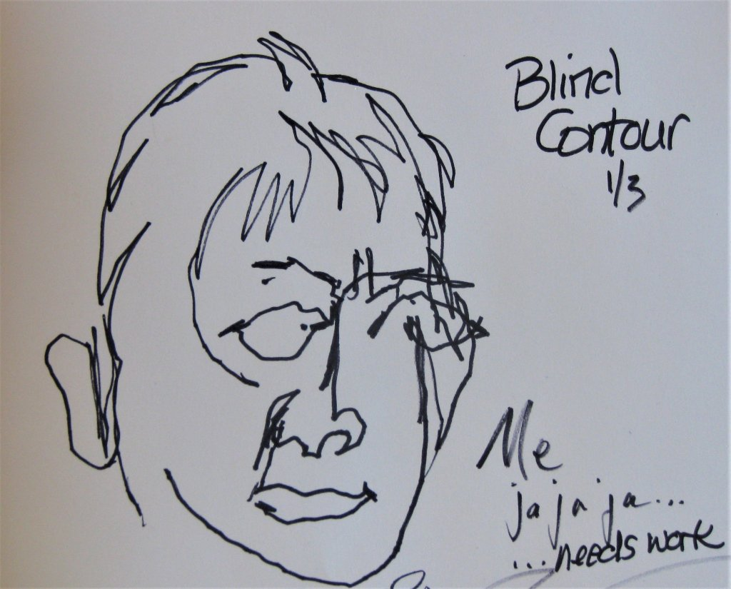 """Here's how my first """"Blind Contour"""" sketch turned out. LOL I admit it – I li"""