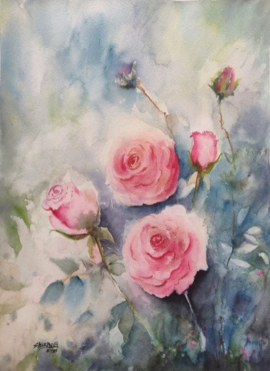Ethereal roses watercolour painting by Shikha Garg