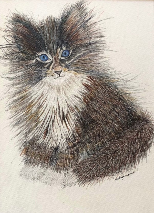 FOXY FELINE Watercolor by Kathy Lee