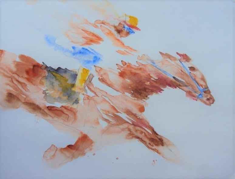Horse And Jockey Watercolor painting by by Vishal Jain