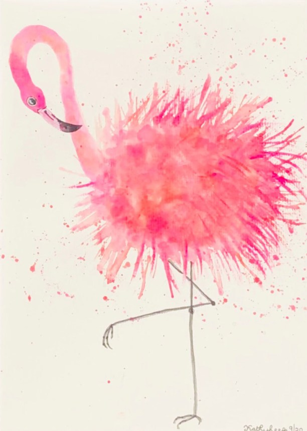 IS THAT A GREY HAIR BLK MAT Pink Flamingo Watercolor by Kathy Lee
