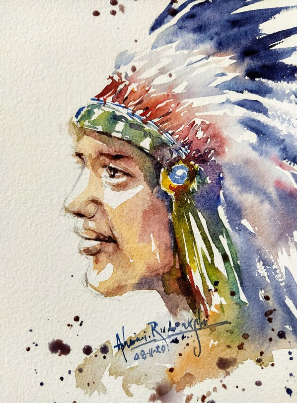 Native American Watercolor Painting by Ashwini Rudrakshi
