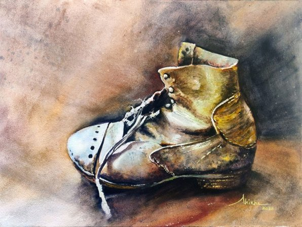 Old_boot_full watercolour by Shikha Garg