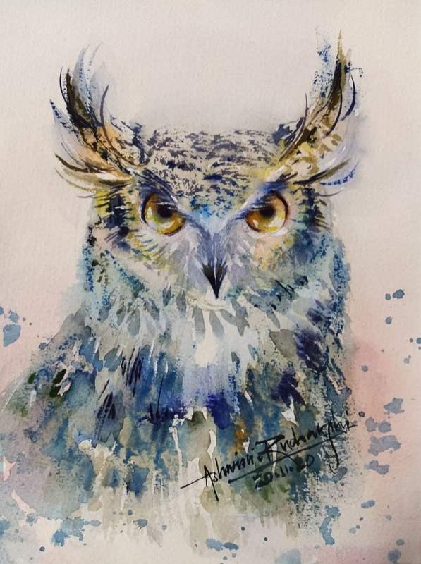 Owl Watercolor Painting by Ashwini Rudrakshi