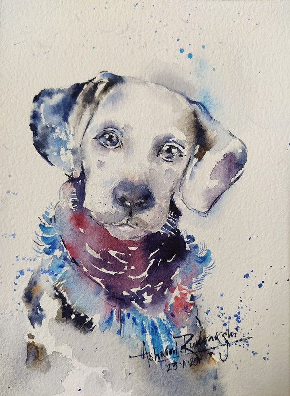 Pet Portrait Dog Watercolor Painting by Ashwini Rudrakshi