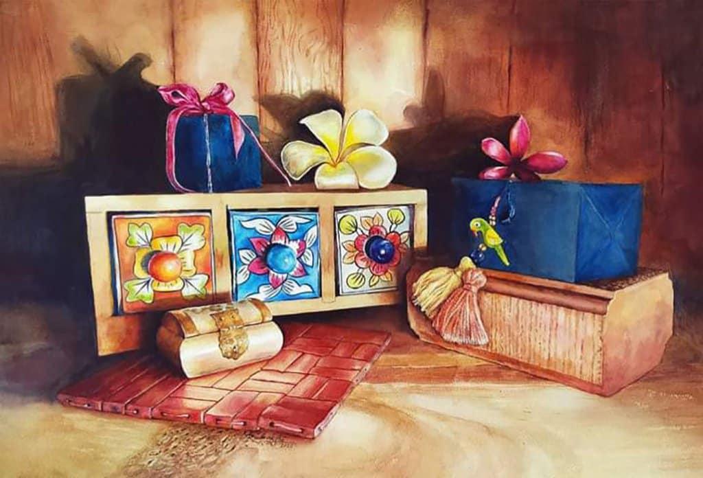 Precious Things Momentos Watercolor Painting by Ashwini Rudrakshi