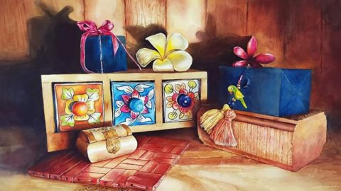 Precious Things Momentos Watercolor Painting by Ashwini Rudrakshi