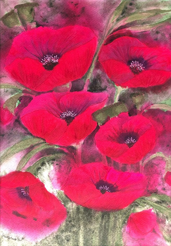 REMEMBRANCE Poppies Watercolor by Kathy Lee