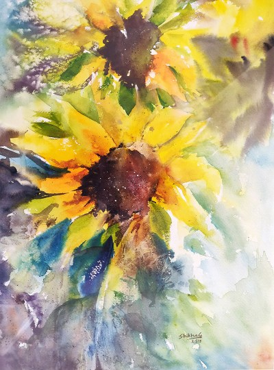 Sunflowers painting watercolour by Shikha Garg