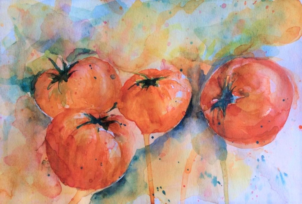 Tomatoes Watercolor painting by by Vishal Jain
