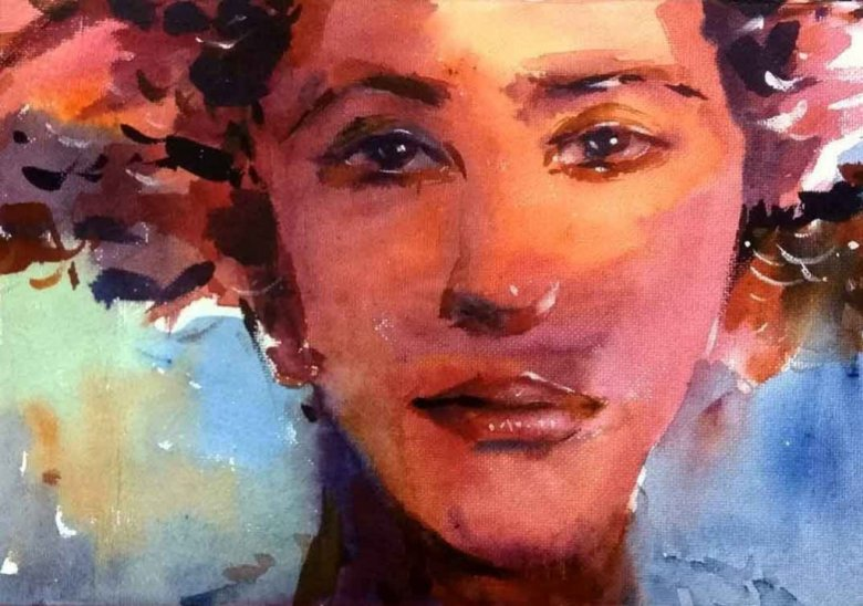 Woman Portrait Watercolor Painting by Ashwini Rudrakshi