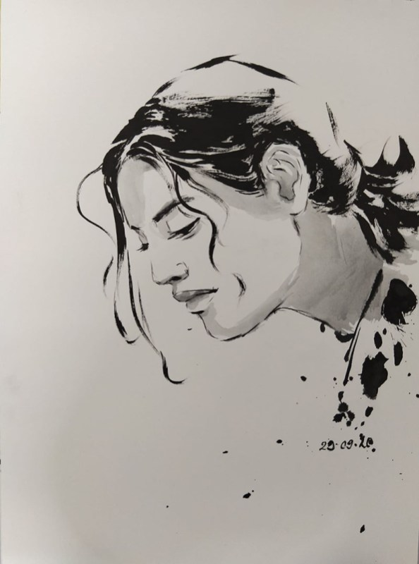 Woman Profile Portrait Art by Ashwini Rudrakshi