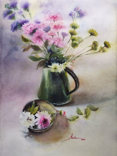 crysanthemums in a green jar watercolour by Shikha Garg