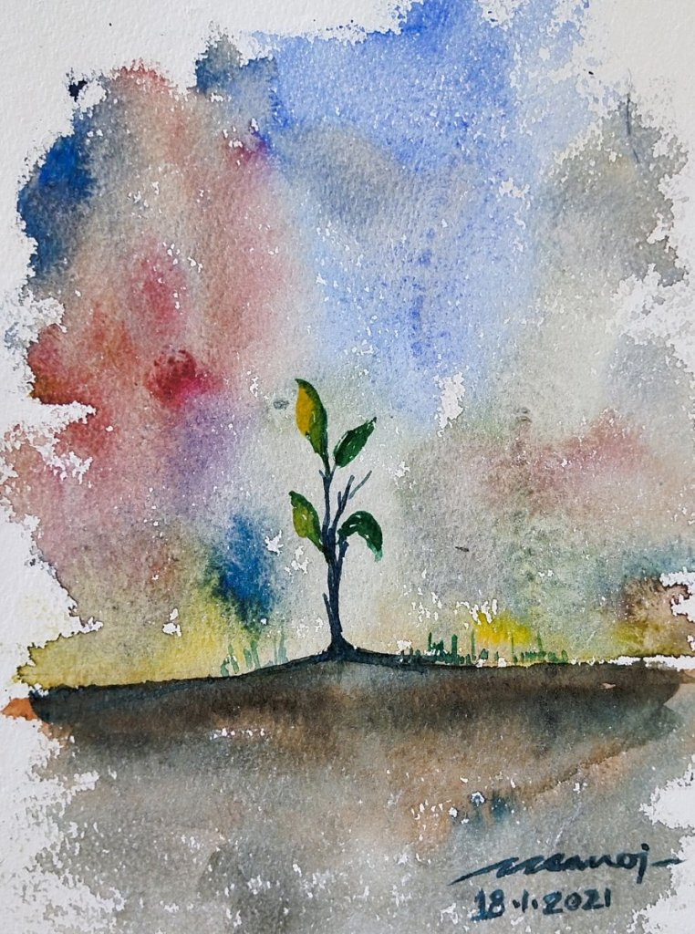 Dt: 18.01.2021 Sub: SAPLING Watercolor painting on handmade paper inbound8556474750081365634